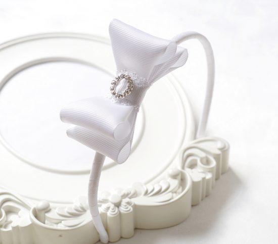 Opaska biała – kokarda z cyrkonią