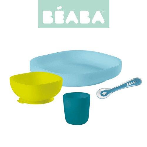 Beaba – Komplet naczyń z silikonu – Niebieski