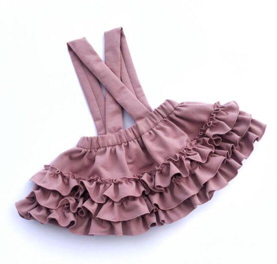 Handmade – Spódnica różowa na szelkach