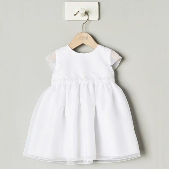 Minimi – Biała sukienka z koronką w pasie