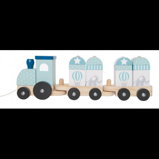 JaBaDaBaDo – Drewniany pociąg z klockami niebieski