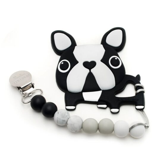 LouLou Lollipop – Gryzak silikonowy z zawieszką Boston Terrier Black