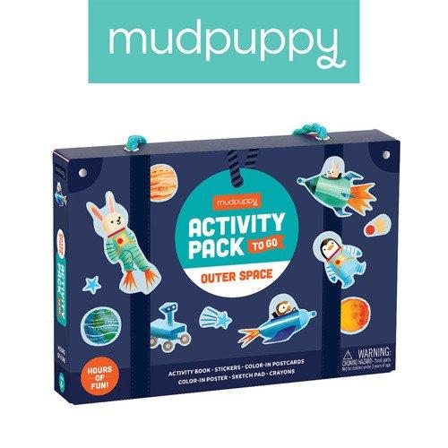 Mudpuppy – Zestaw kreatywny Naklejki, Malowanki, Łamigłówki z 5 kredkami Kosmos
