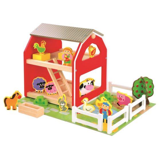 Drewniany zestaw do układania zabawy stodoła