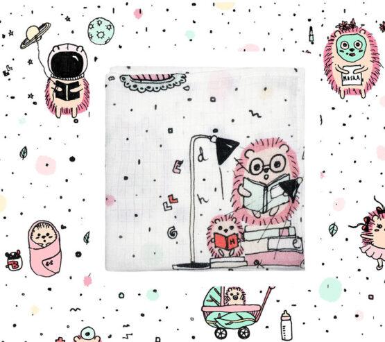 Lullalove – Muślinowa pieluszka / myjka jeże, róż