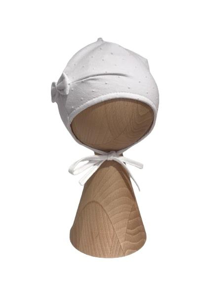 Czapka z kokardką – biała