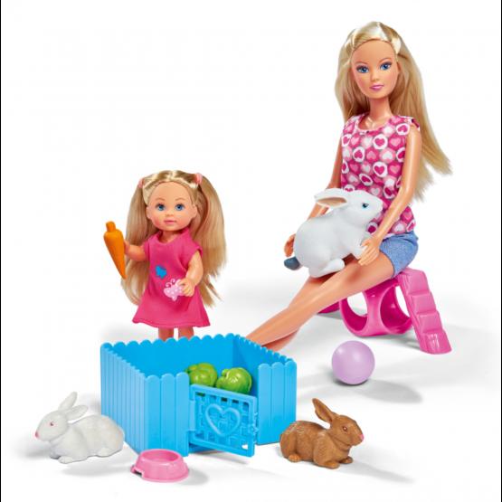 Lalka Steffi i Evi ze Zwierzątkami Króliczki