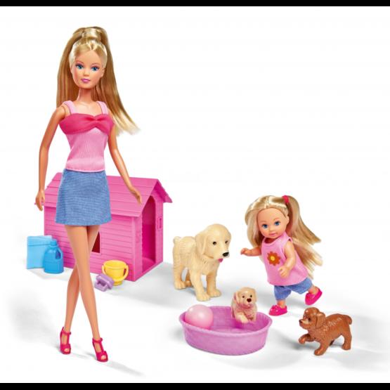 Lalka Steffi i Evi ze Zwierzątkami Pieski
