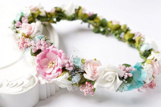 Wianek komunijny – pastelowe kwiaty